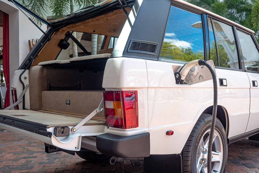 The ECD Range Rover Classic with charger plugged in where fuel filler would have been